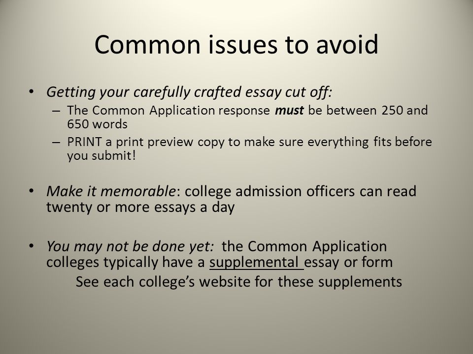 Common issues to avoid Getting your carefully crafted essay cut off: