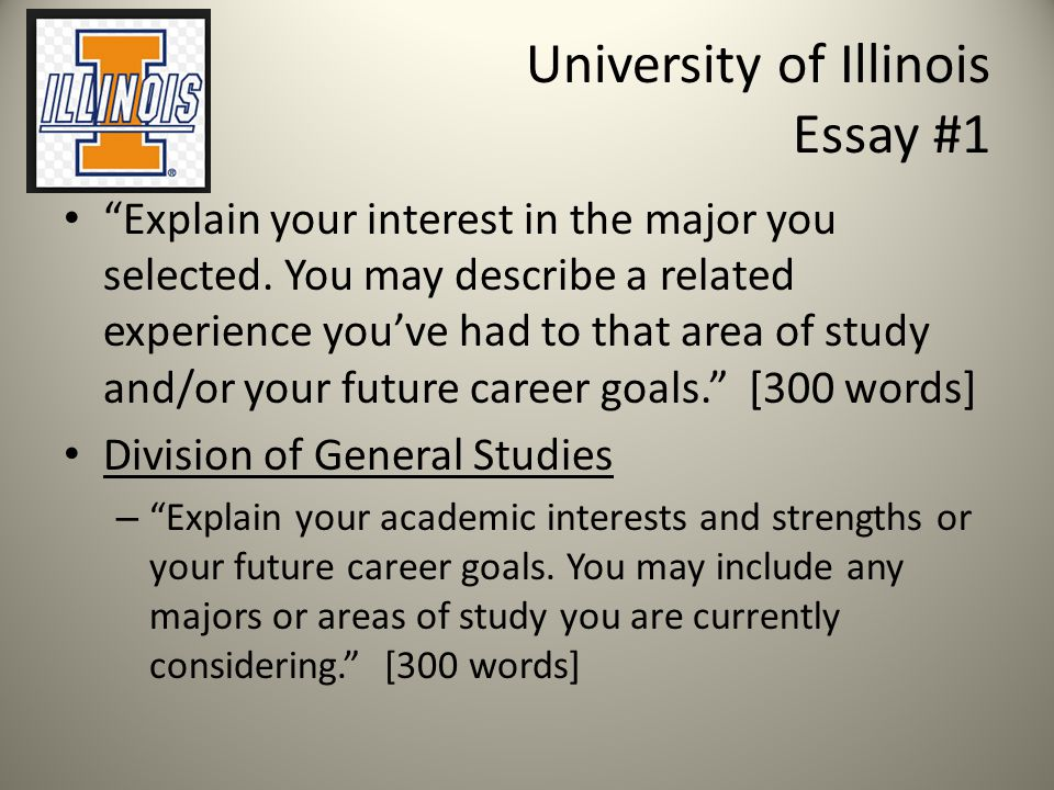 University of Illinois Essay #1