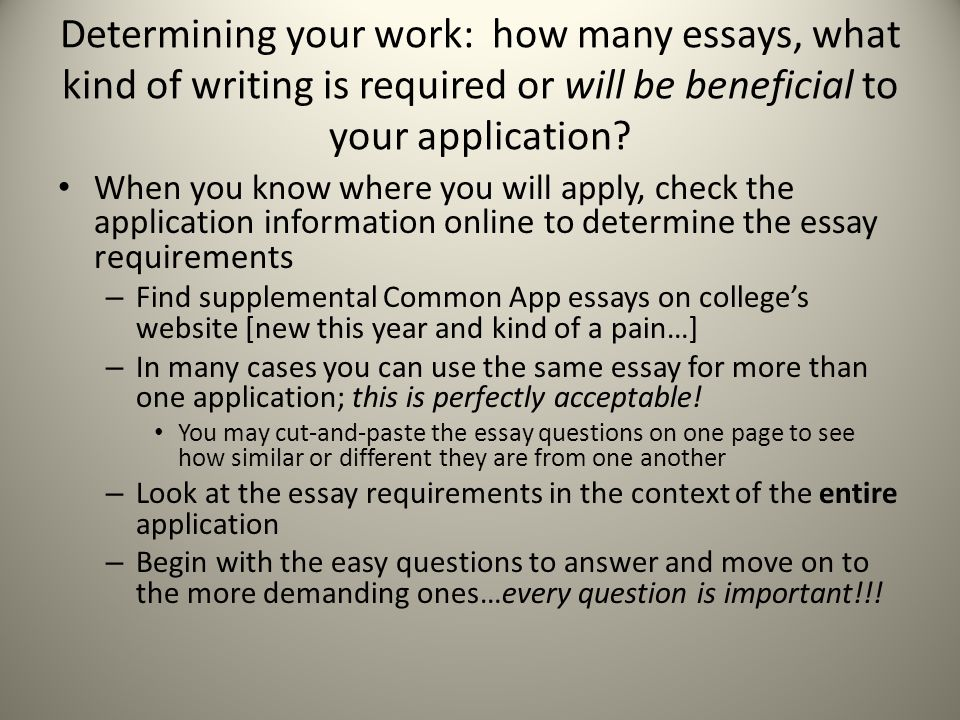 Determining your work: how many essays, what kind of writing is required or will be beneficial to your application