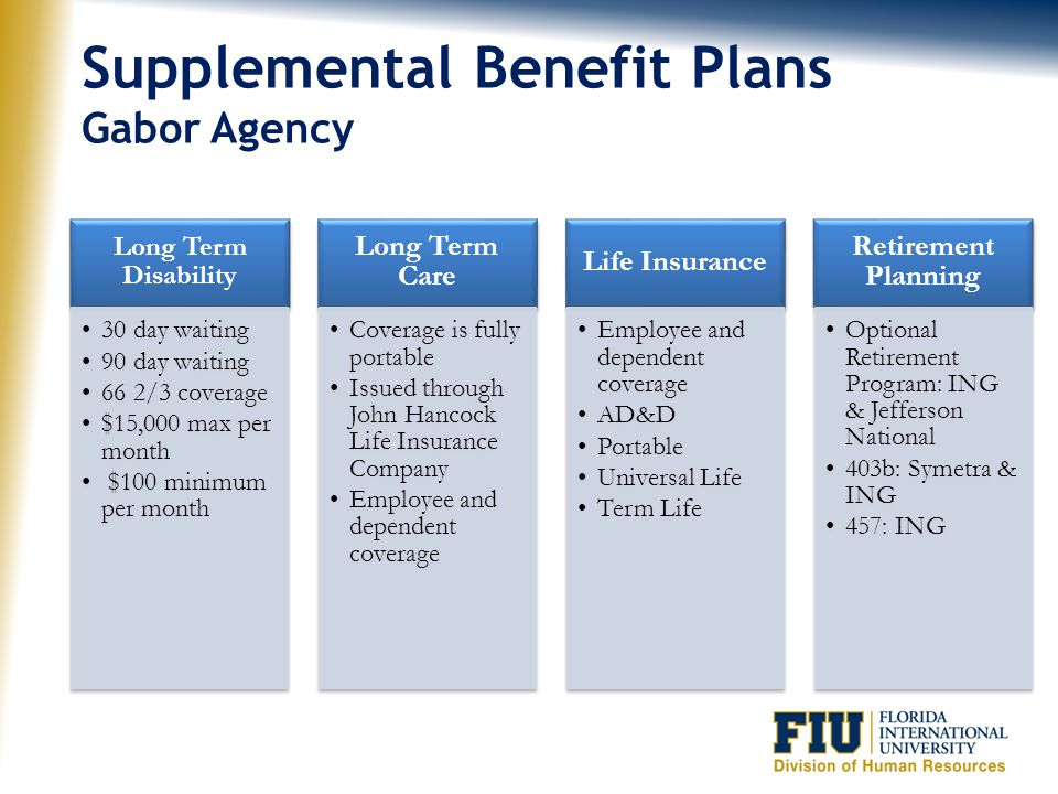 Supplemental Benefit Plans Gabor Agency