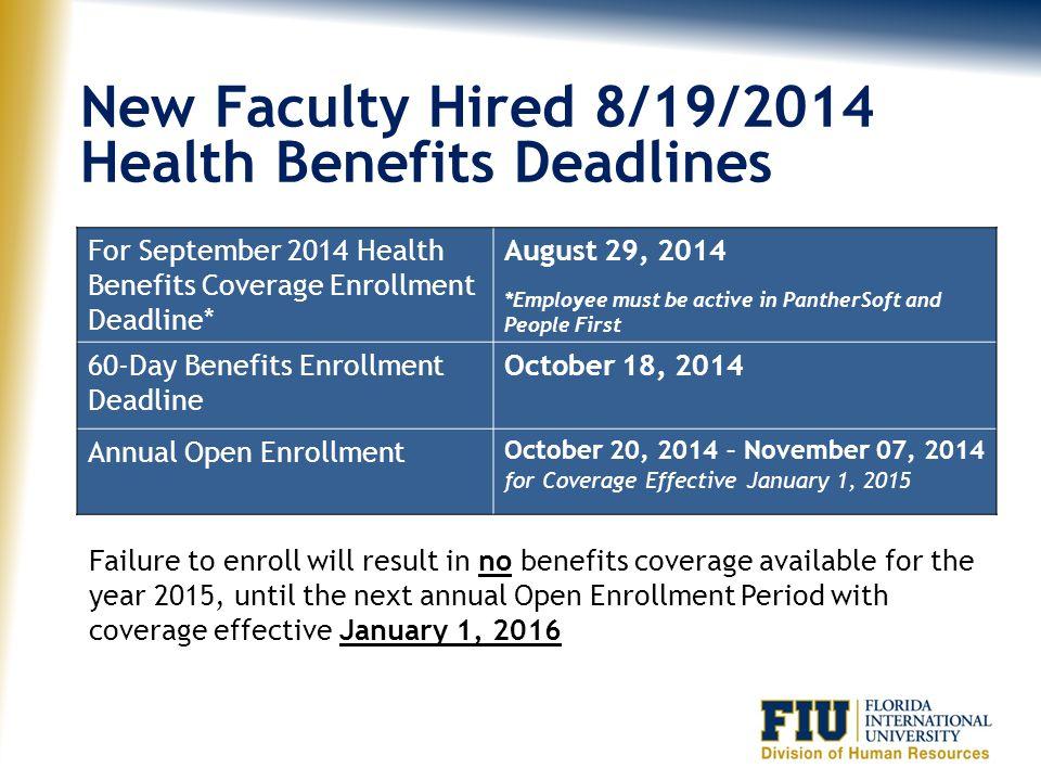 Health Benefits Deadlines