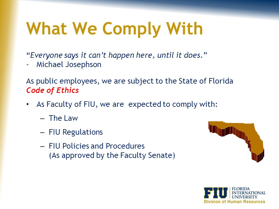 What We Comply With Everyone says it can't happen here, until it does. Michael Josephson.