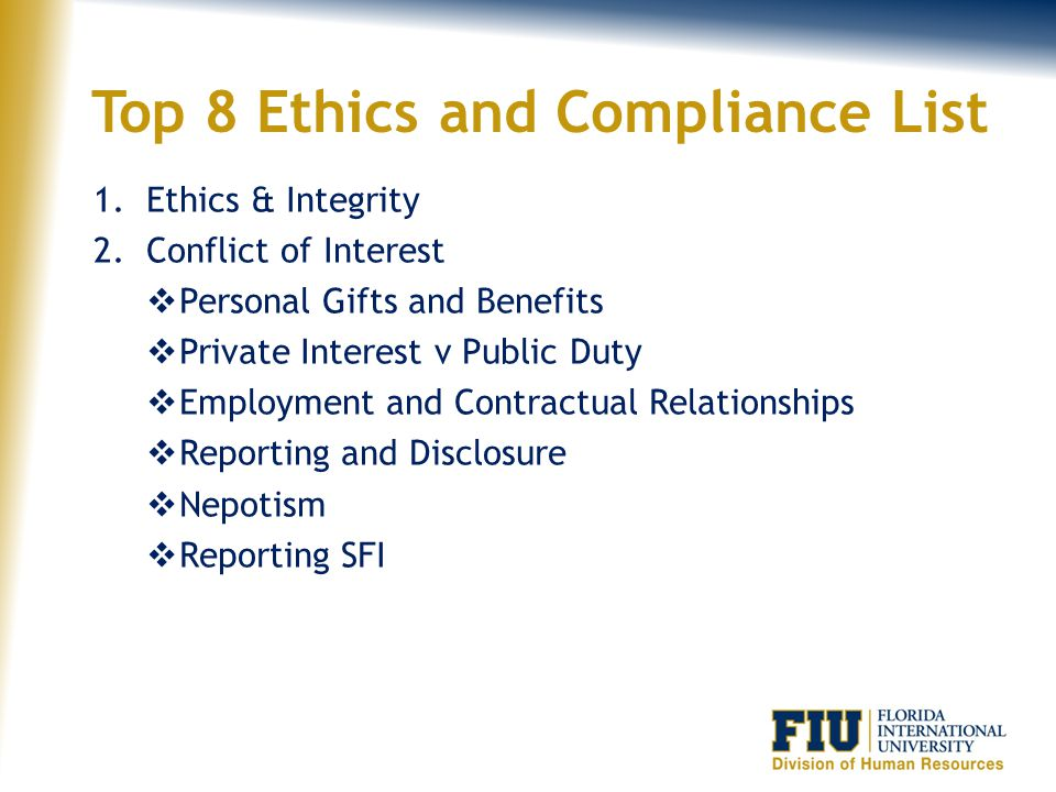 Top 8 Ethics and Compliance List