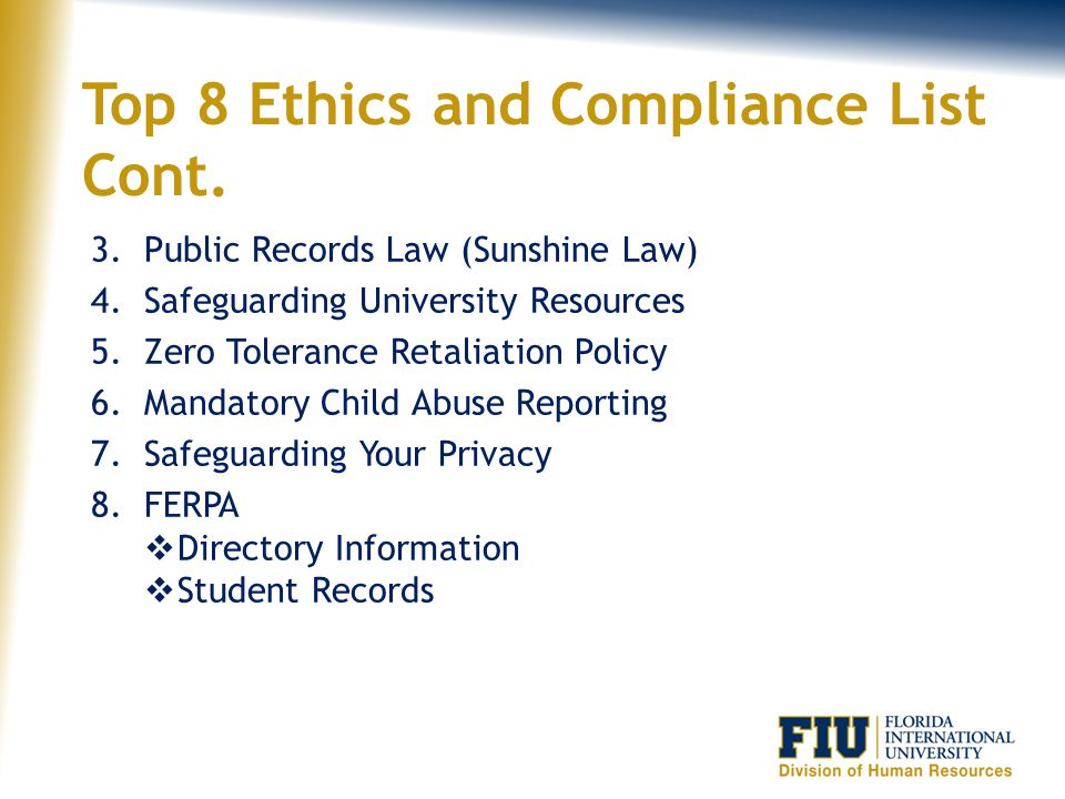 Top 8 Ethics and Compliance List Cont.