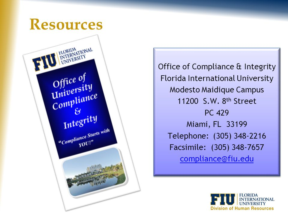 Resources Office of Compliance & Integrity