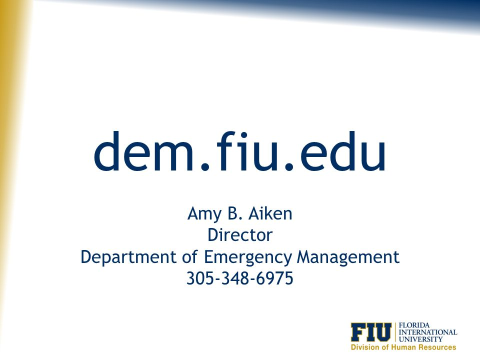 Amy B. Aiken Director Department of Emergency Management 305-348-6975