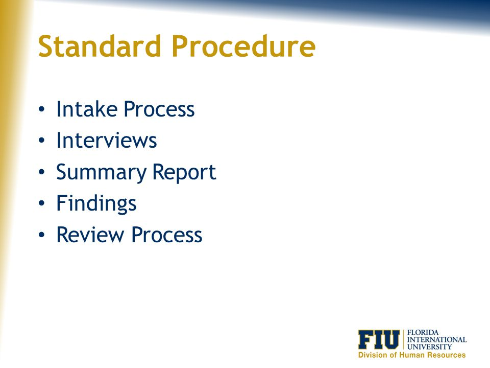 Standard Procedure Intake Process Interviews Summary Report Findings