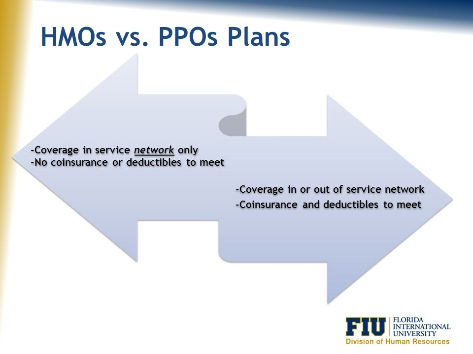 HMOs vs. PPOs Plans -Coverage in service network only