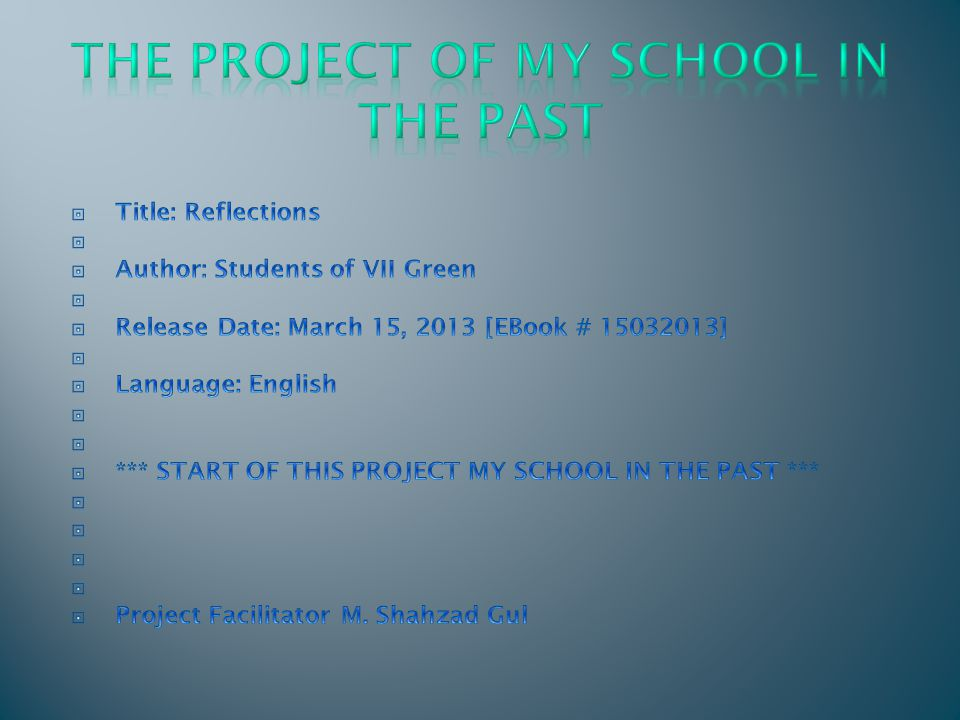 The Project of My School in the Past
