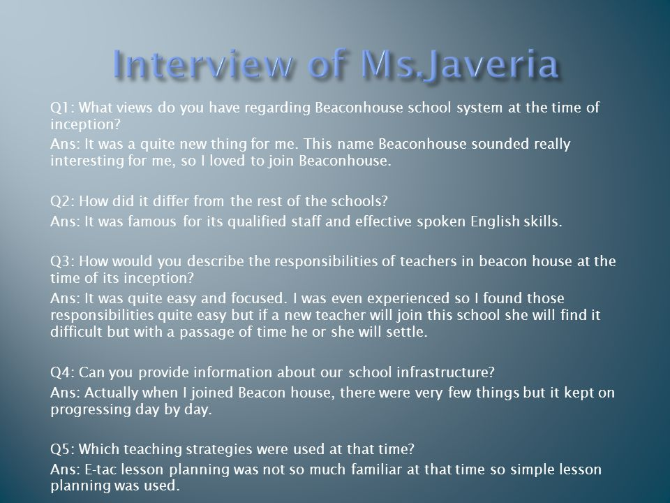 Interview of Ms.Javeria
