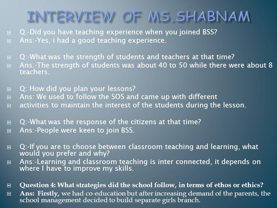 INTERVIEW OF MS.SHABNAM