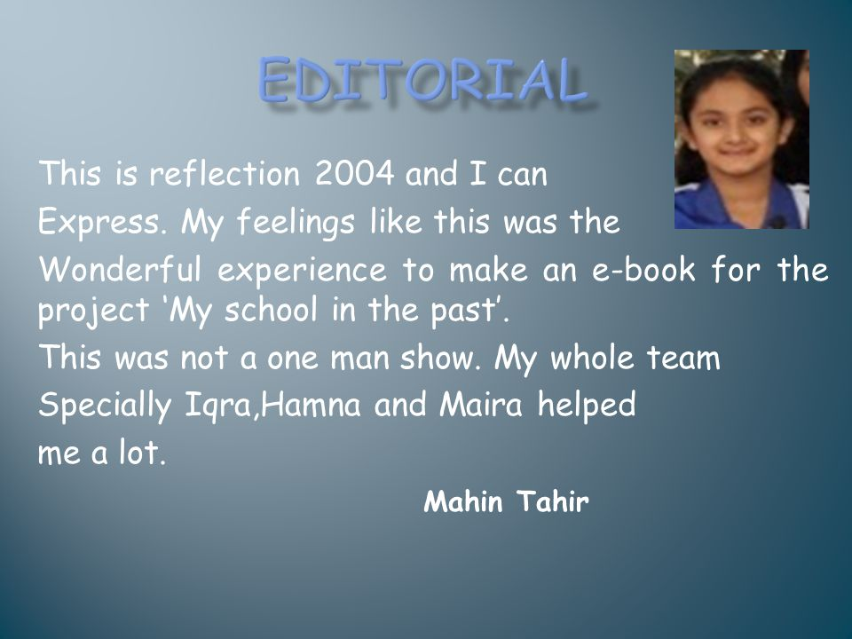 Editorial This is reflection 2004 and I can