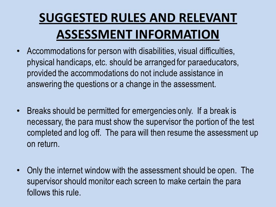 SUGGESTED RULES AND RELEVANT ASSESSMENT INFORMATION