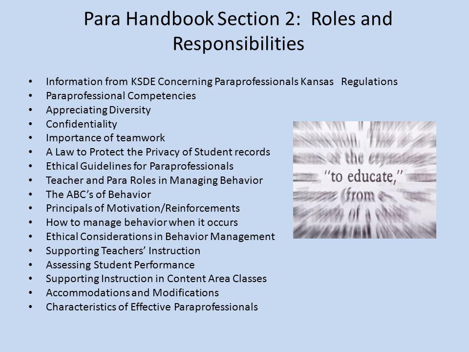 Para Handbook Section 2: Roles and Responsibilities