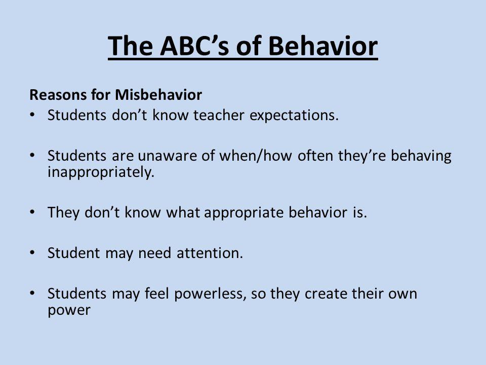 The ABC's of Behavior Reasons for Misbehavior