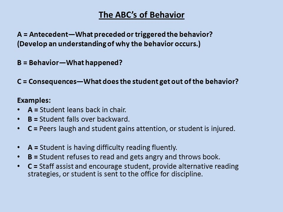 The ABC's of Behavior A = Antecedent—What preceded or triggered the behavior (Develop an understanding of why the behavior occurs.)