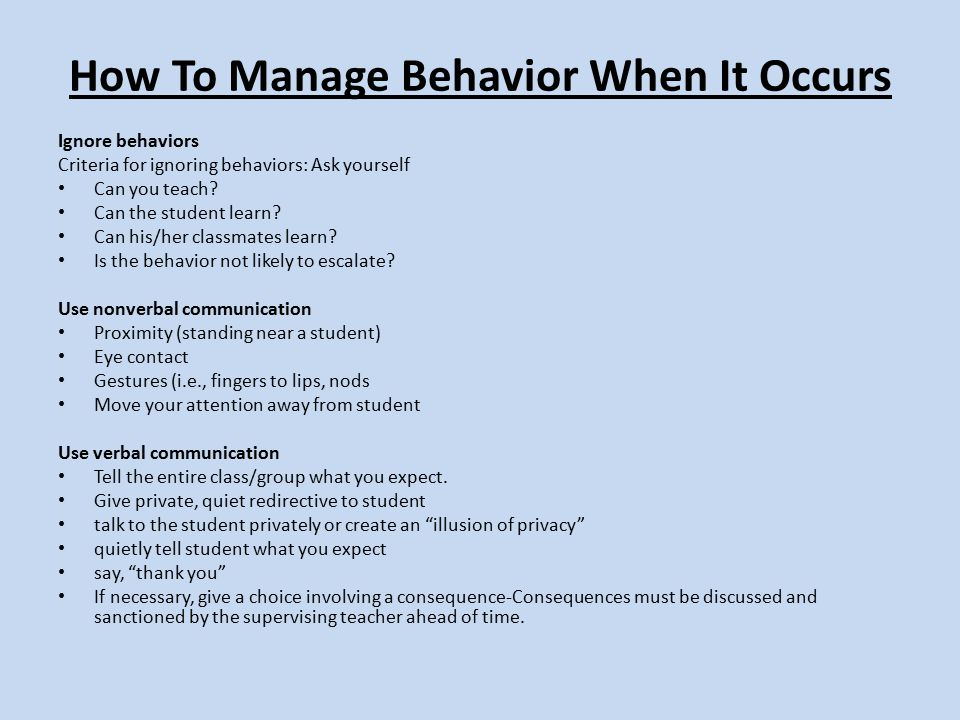 How To Manage Behavior When It Occurs