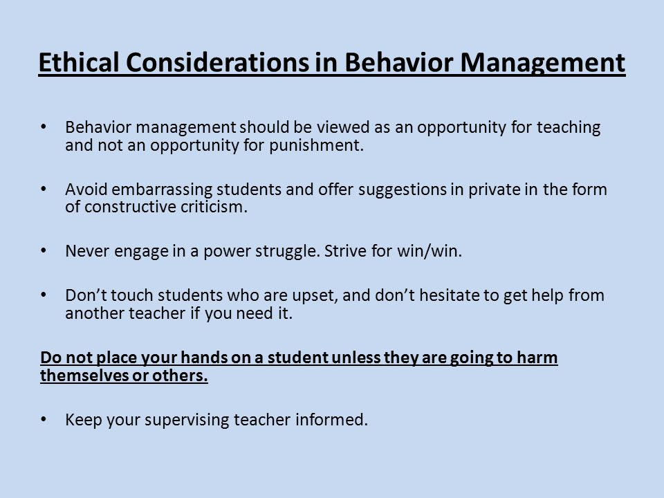Ethical Considerations in Behavior Management