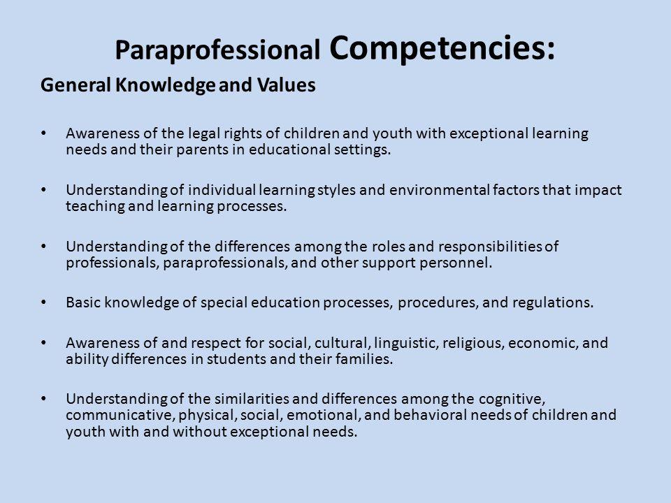 Paraprofessional Competencies: