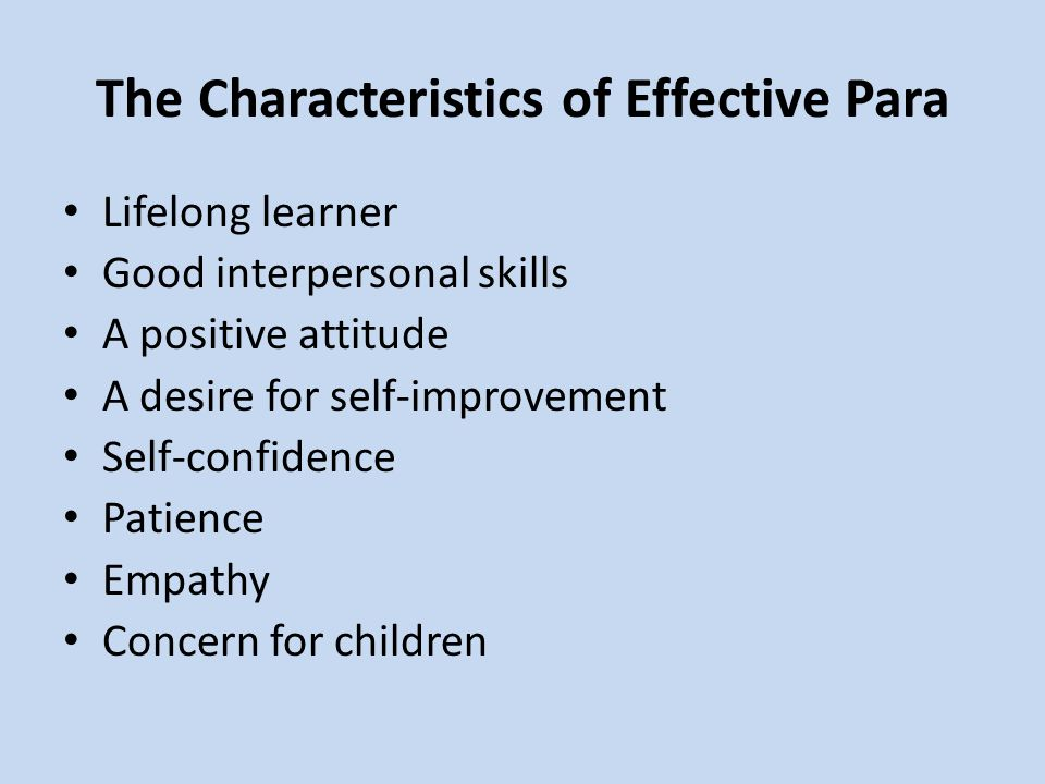 The Characteristics of Effective Para