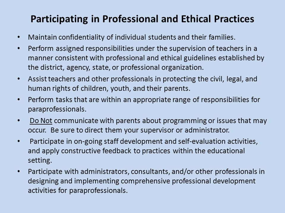 Participating in Professional and Ethical Practices