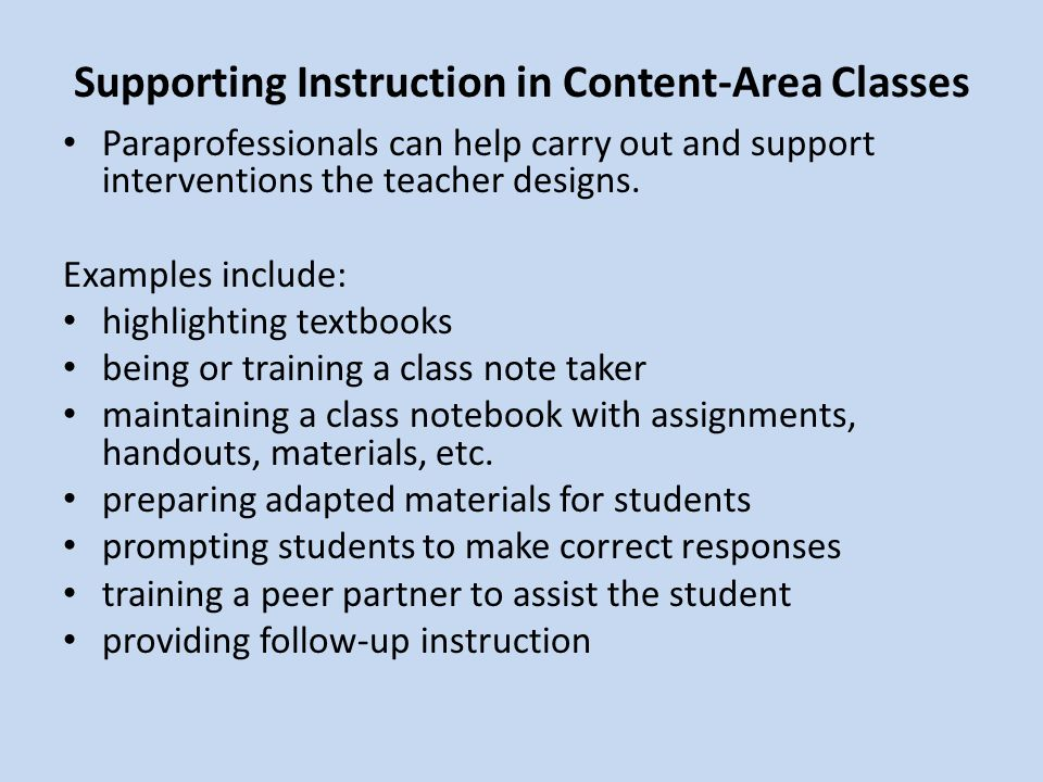 Supporting Instruction in Content-Area Classes