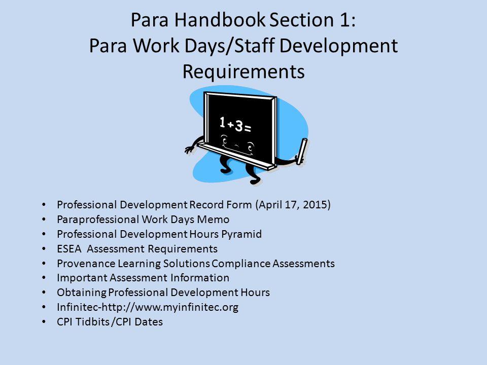 Para Handbook Section 1: Para Work Days/Staff Development Requirements