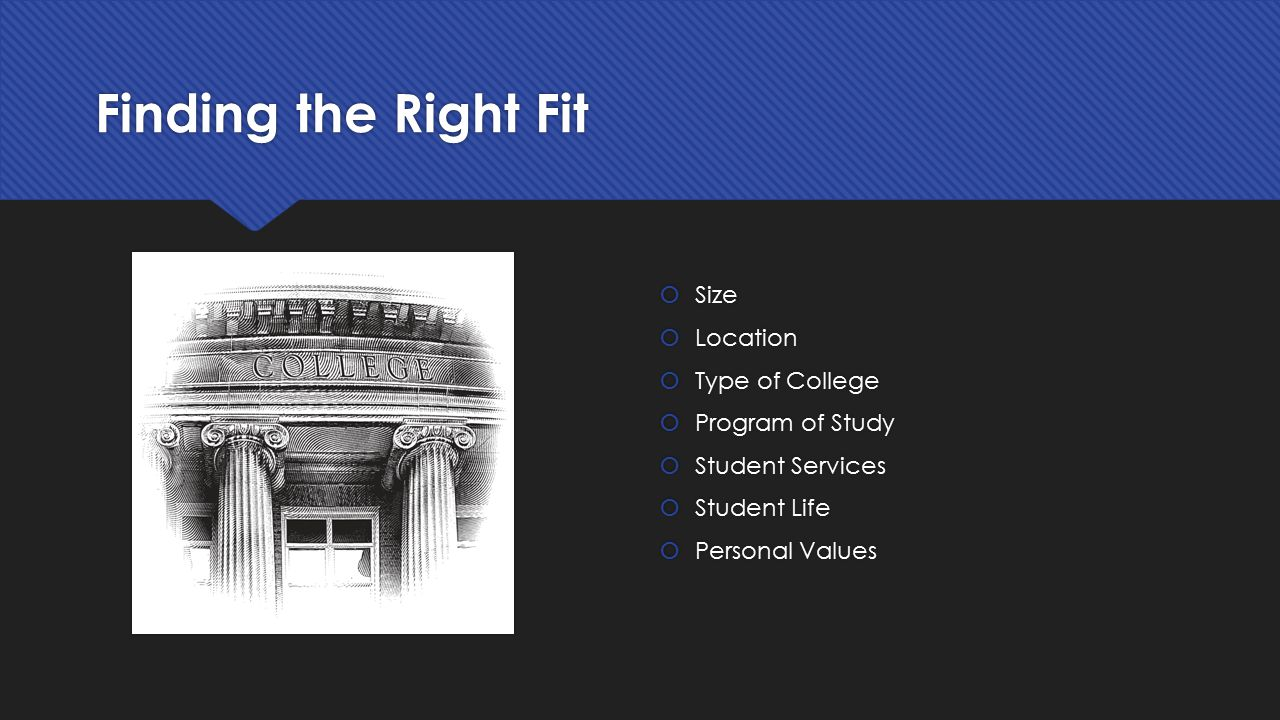 Finding the Right Fit Size Location Type of College Program of Study