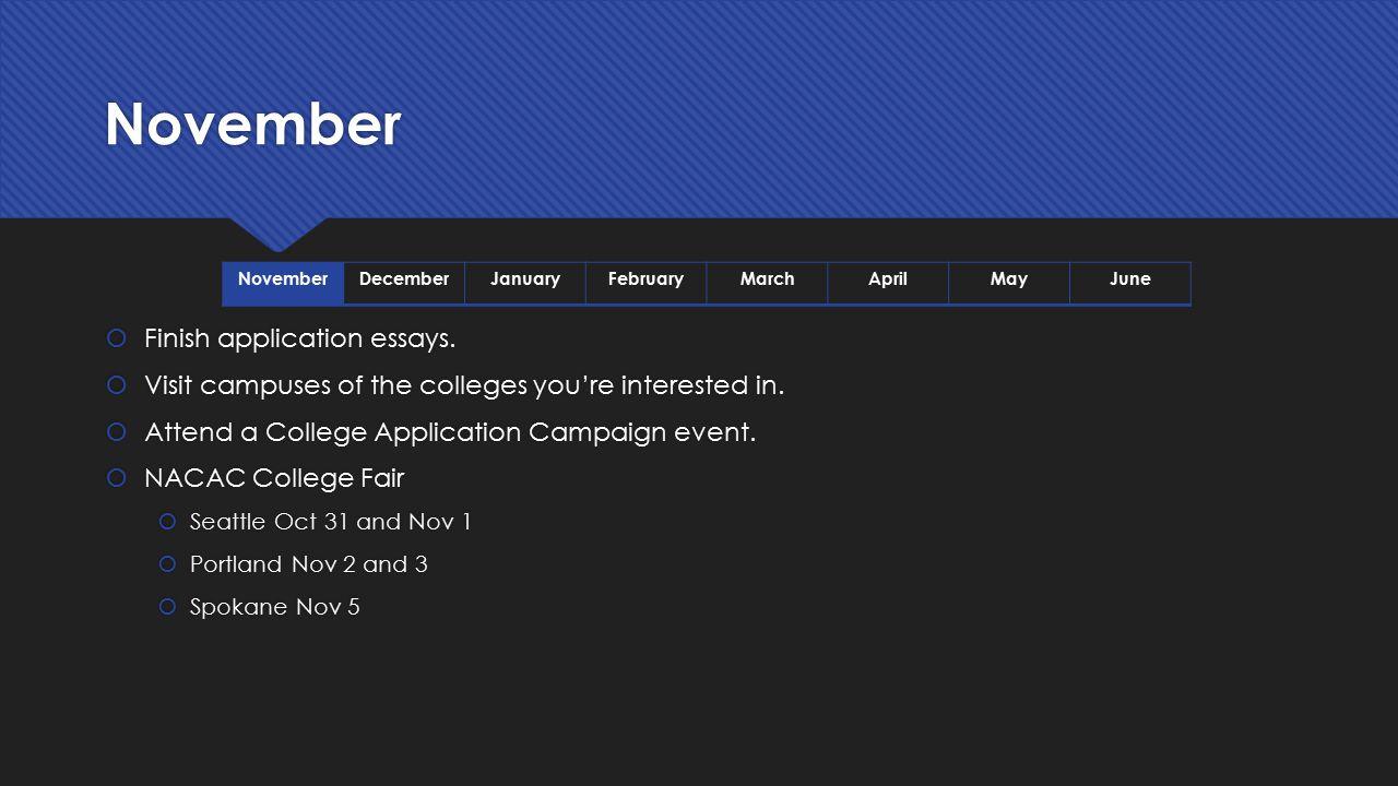 November Finish application essays.