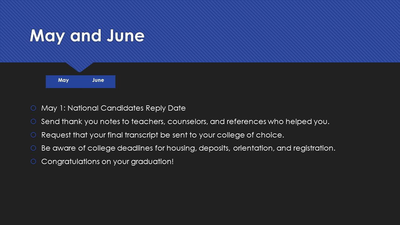 May and June May 1: National Candidates Reply Date