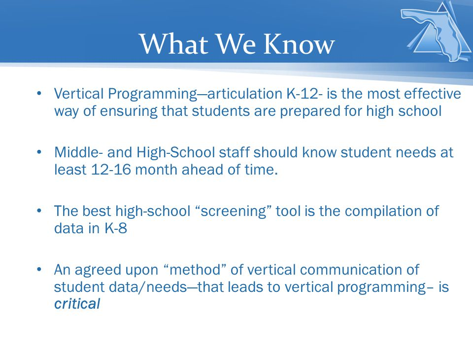 What We Know Vertical Programming—articulation K-12- is the most effective way of ensuring that students are prepared for high school.