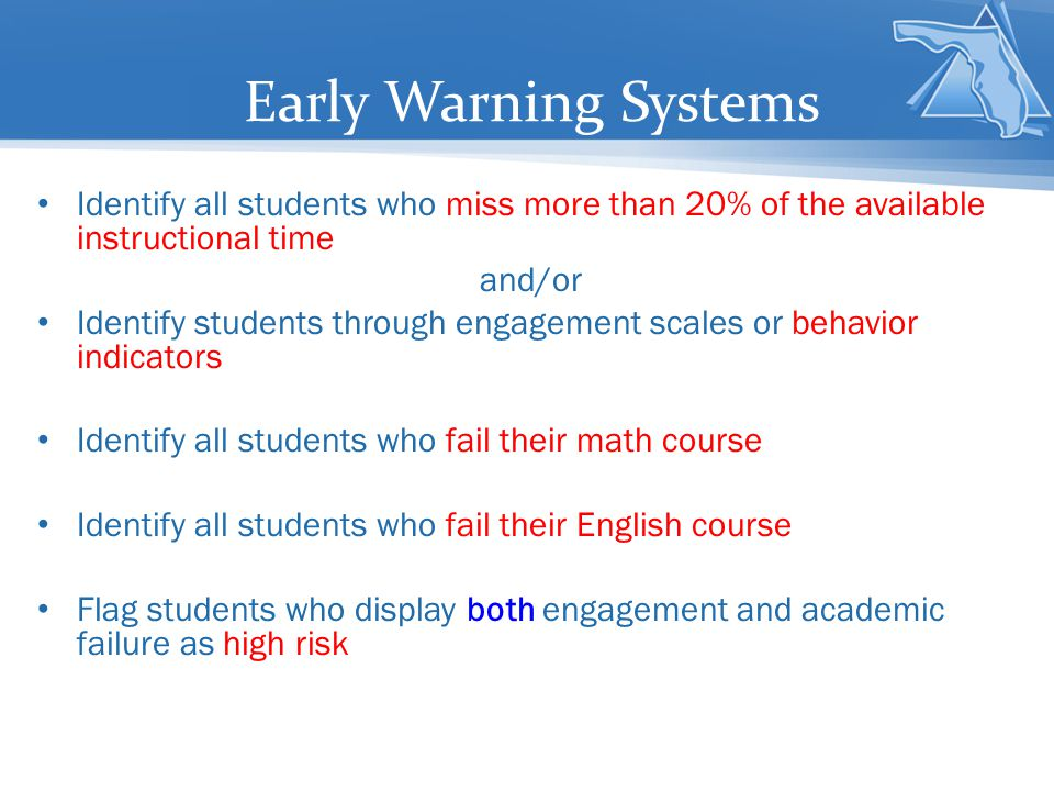 Early Warning Systems Identify all students who miss more than 20% of the available instructional time.