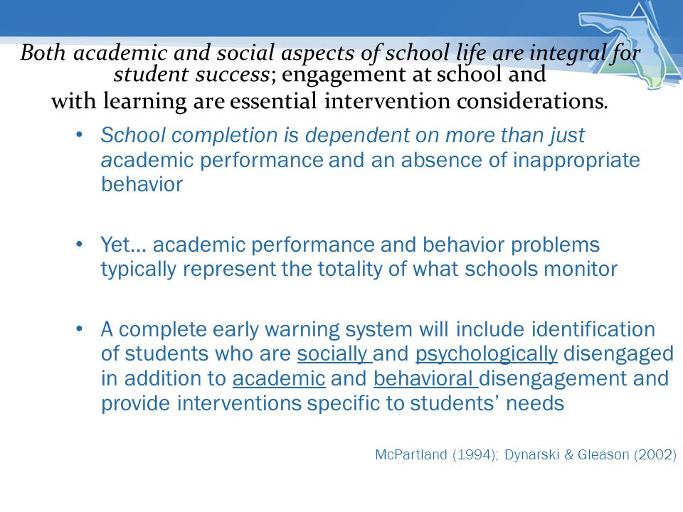 Both academic and social aspects of school life are integral for student success; engagement at school and with learning are essential intervention considerations.