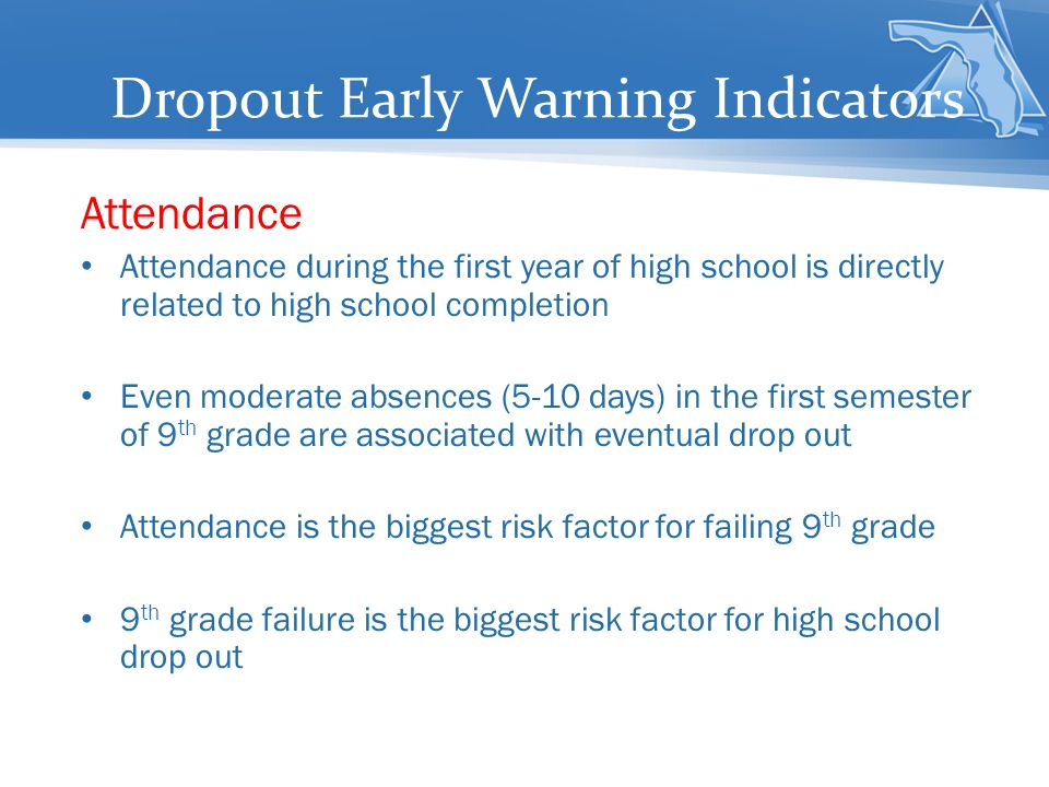 Dropout Early Warning Indicators