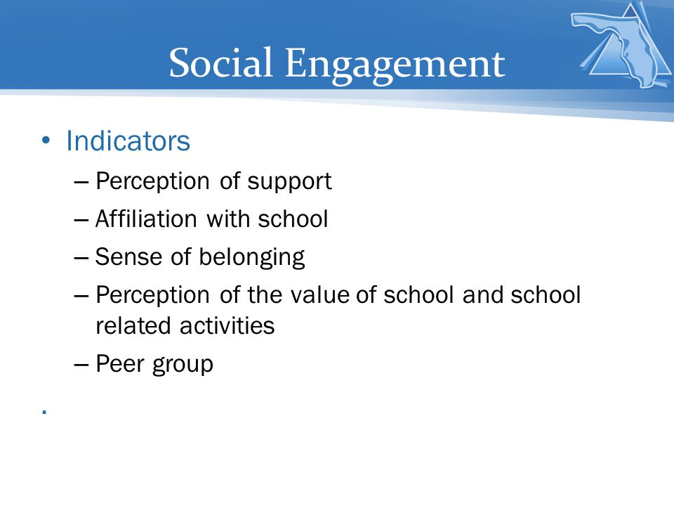 Social Engagement Indicators . Perception of support