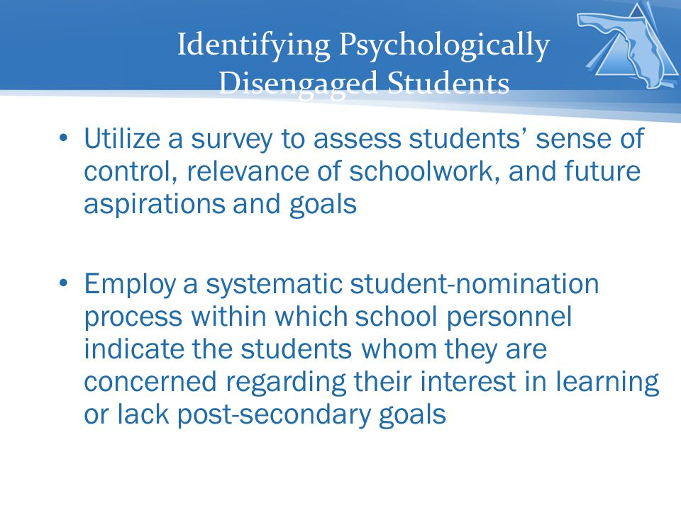Identifying Psychologically Disengaged Students