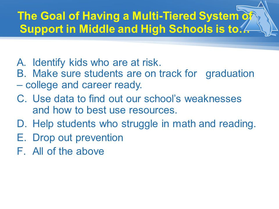 The Goal of Having a Multi-Tiered System of Support in Middle and High Schools is to…