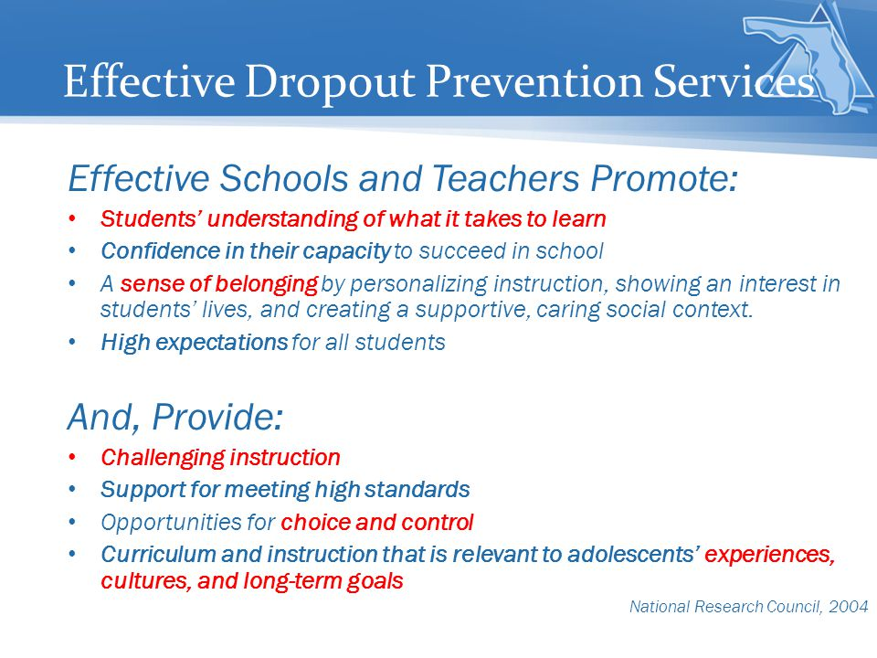 Effective Dropout Prevention Services