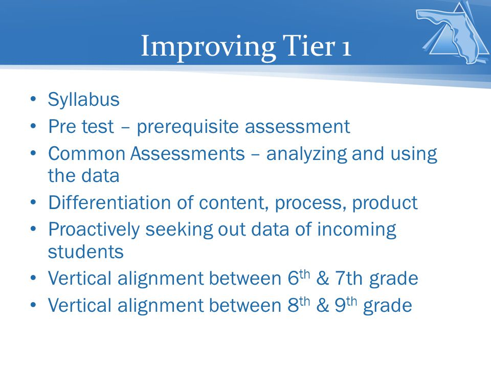 Improving Tier 1 Syllabus Pre test – prerequisite assessment