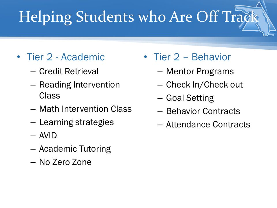 Helping Students who Are Off Track