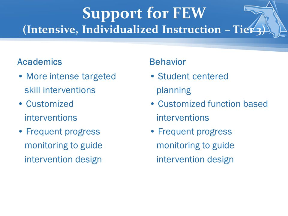 Support for FEW (Intensive, Individualized Instruction – Tier 3)