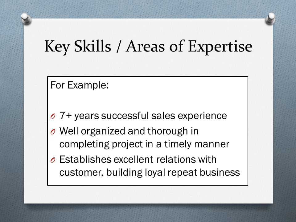 Key Skills / Areas of Expertise