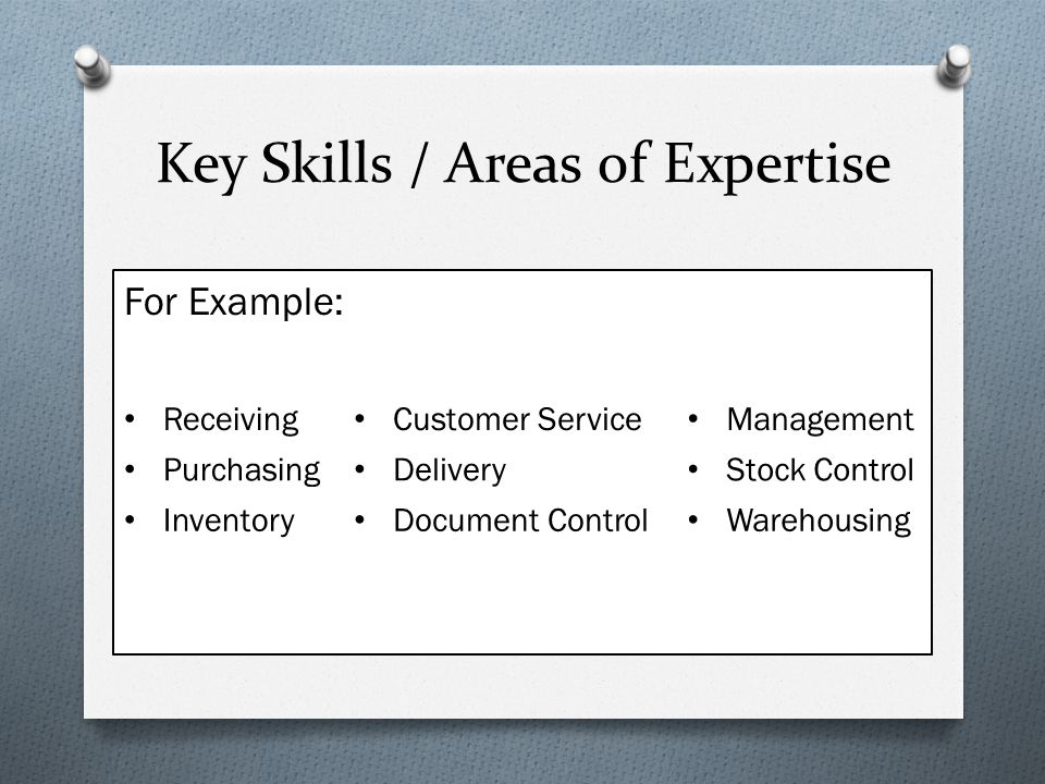 areas of expertise examples