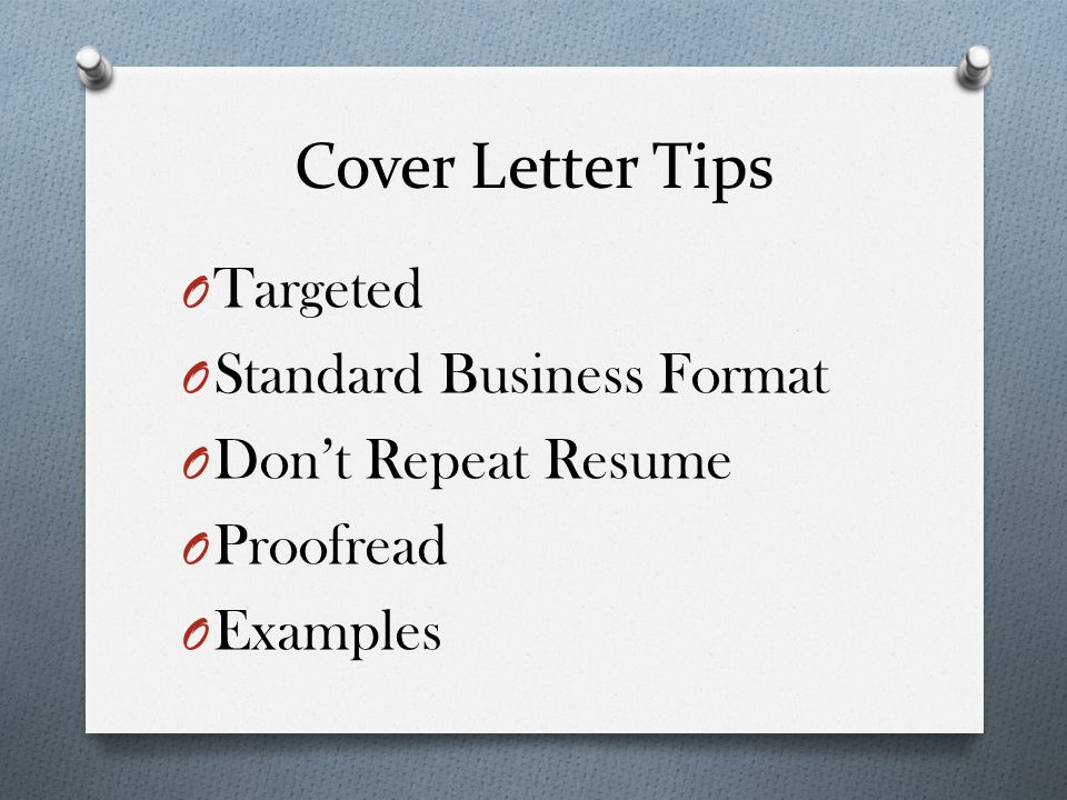 Cover Letter Tips Targeted Standard Business Format