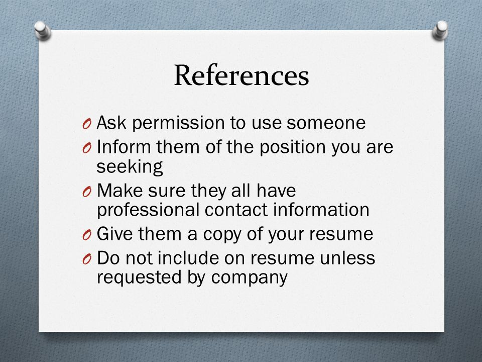 References Ask permission to use someone