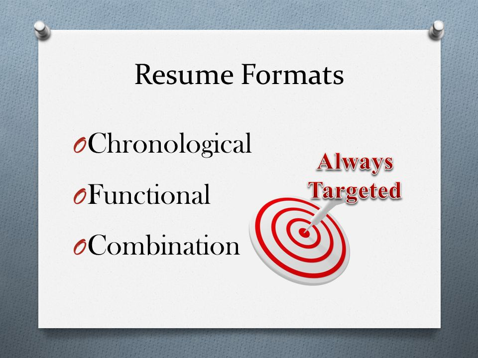 Resume Formats Chronological Functional Combination Always Targeted