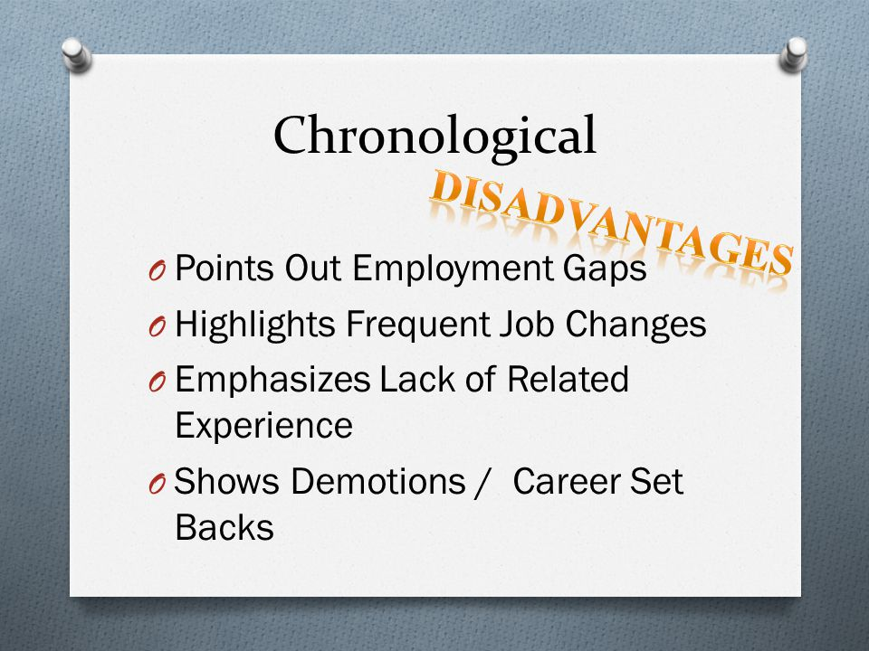 Chronological Disadvantages Points Out Employment Gaps