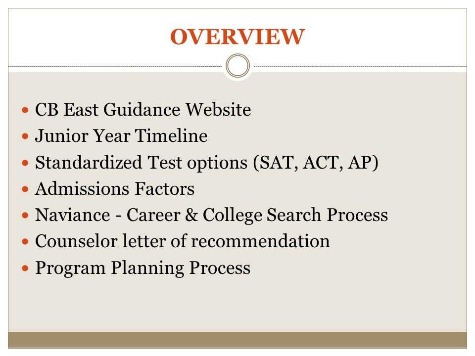 OVERVIEW CB East Guidance Website Junior Year Timeline