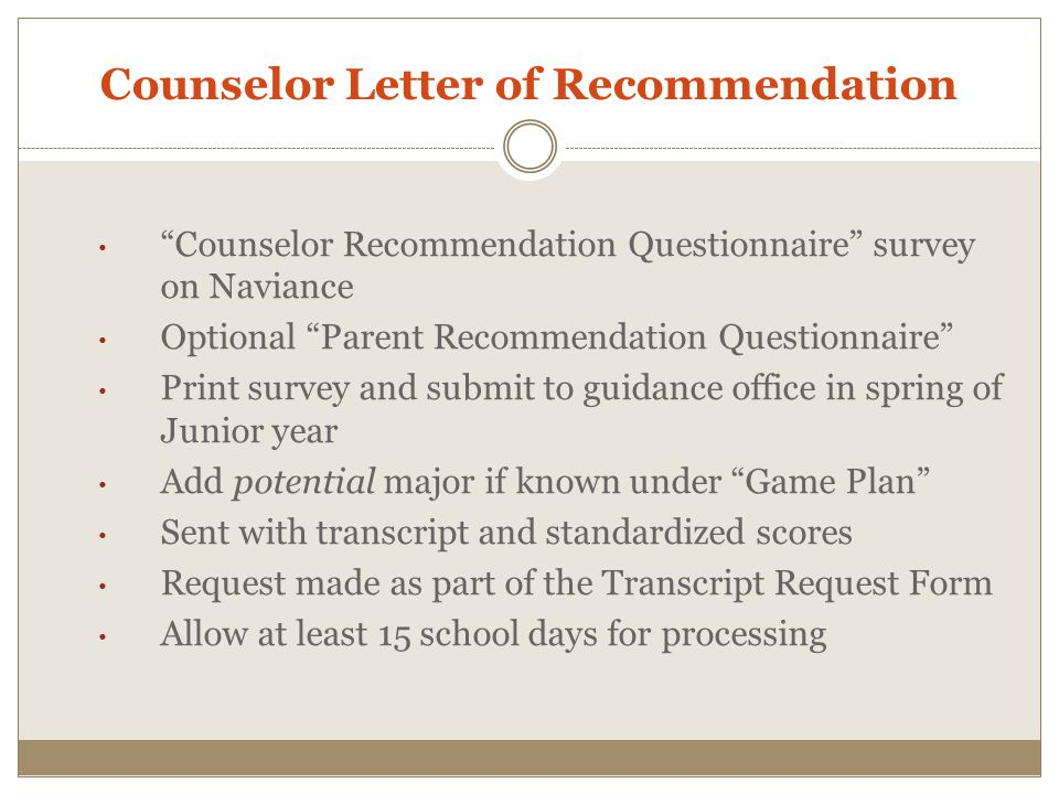 Counselor Letter of Recommendation