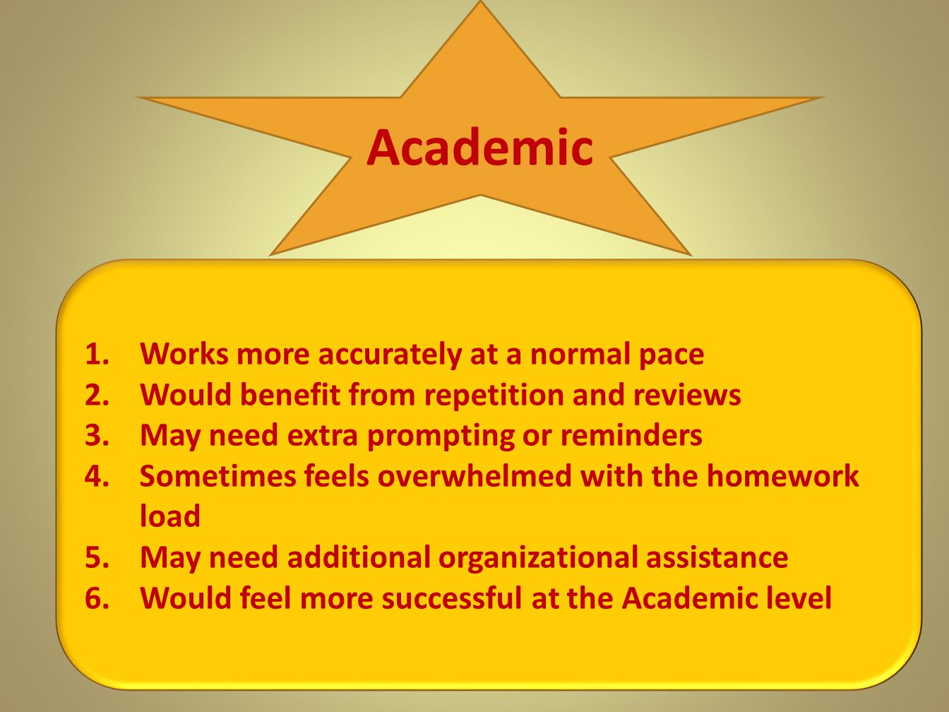 Academic Works more accurately at a normal pace